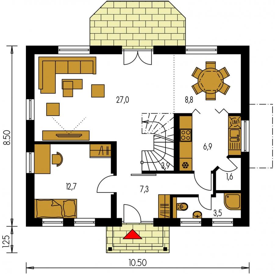 Pôdorys Prízemia - Malý dom s 5-timi miestnosťami a s izbou na prízemí.