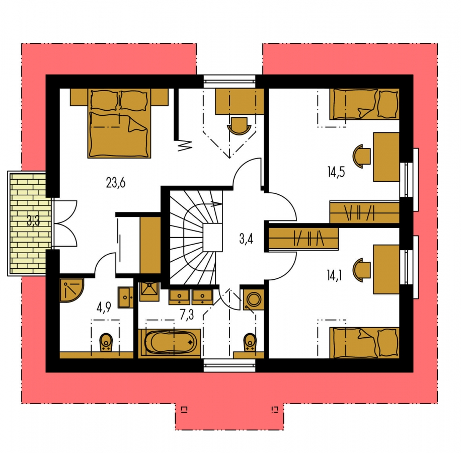 Pôdorys Poschodia - Malý dom s 5-timi miestnosťami s izbou na prízemí