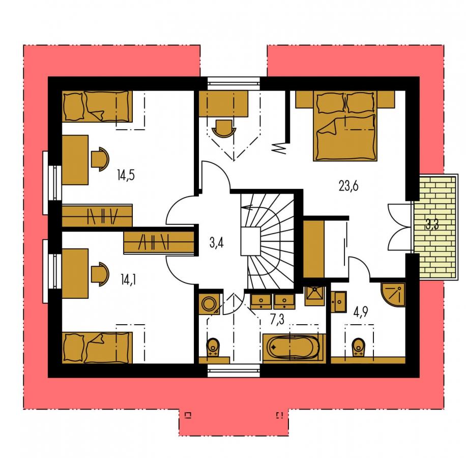 Pôdorys Poschodia - Malý dom s 5-timi miestnosťami a s izbou na prízemí.