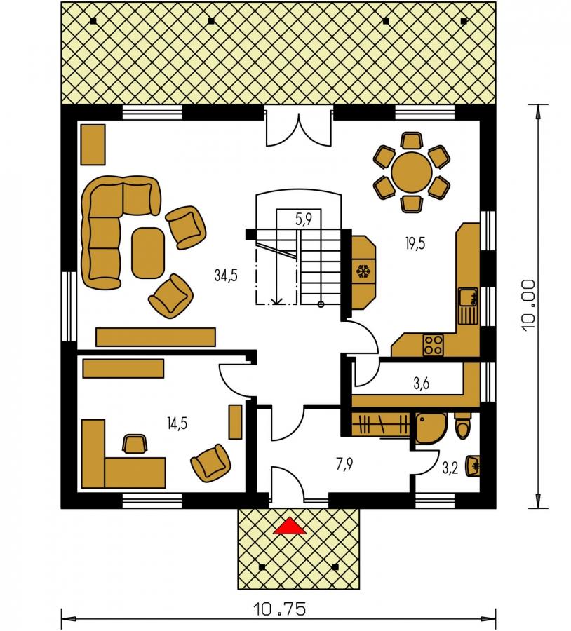 Pôdorys Prízemia - Klasický podkrovný rodinný dom s izbou na prízemí.