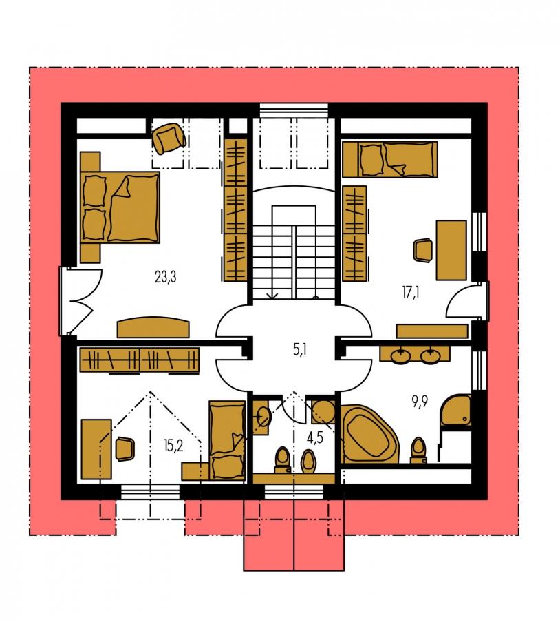 Pôdorys Poschodia - Klasický podkrovný rodinný dom s izbou na prízemí.