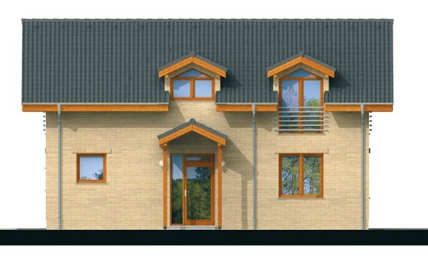 Pohľad 1. - Klasický podkrovný rodinný dom s izbou na prízemí