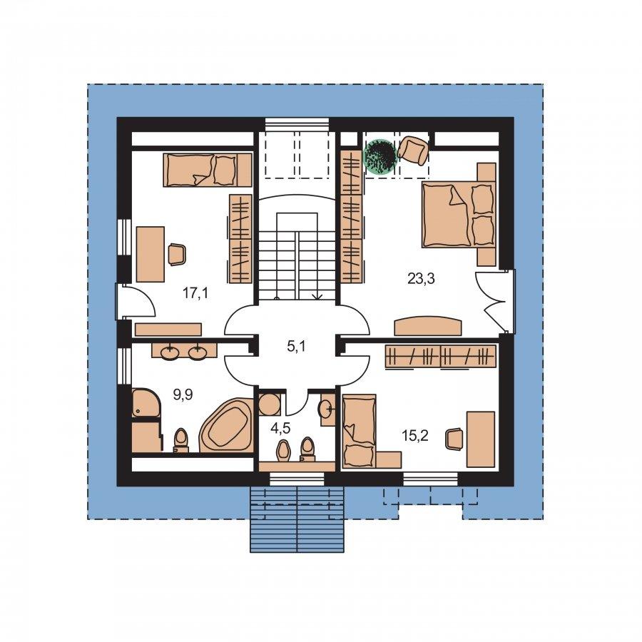 Pôdorys Poschodia - Klasický podkrovný rodinný dom s izbou na prízemí