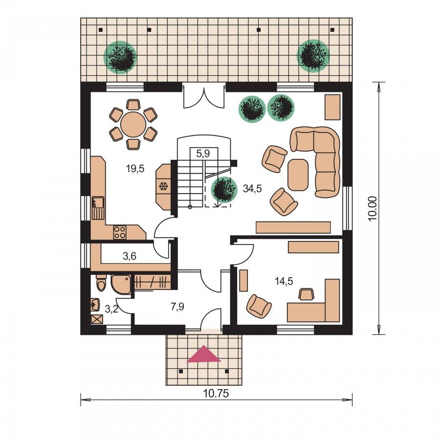 Pôdorys Prízemia - Klasický podkrovný rodinný dom s izbou na prízemí
