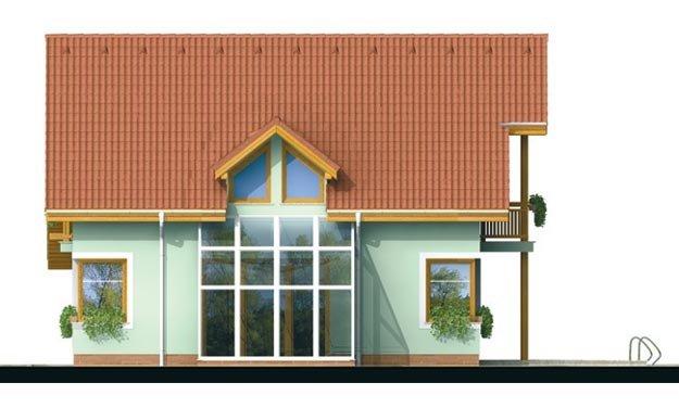 Pohľad 3. - Dom so zimnou záhradou a garážou.