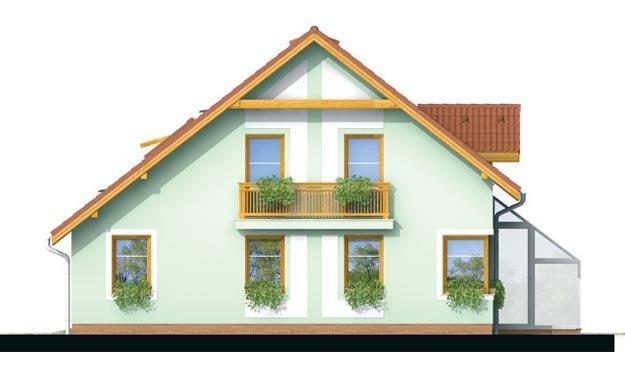 Pohľad 4. - Dom so zimnou záhradou a garážou.