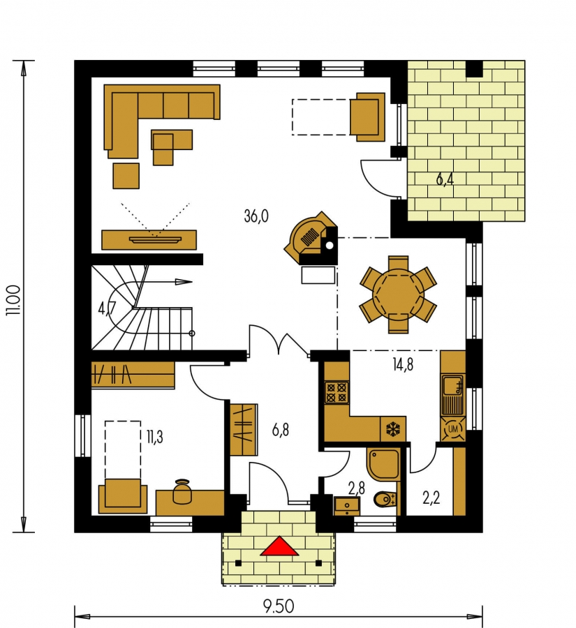 Pôdorys Prízemia - Klasický rodinný dom s galériou a izbou na prízemí.