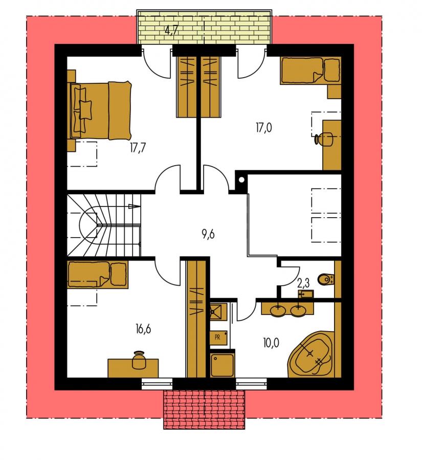 Pôdorys Poschodia - Klasický rodinný dom s galériou a izbou na prízemí.