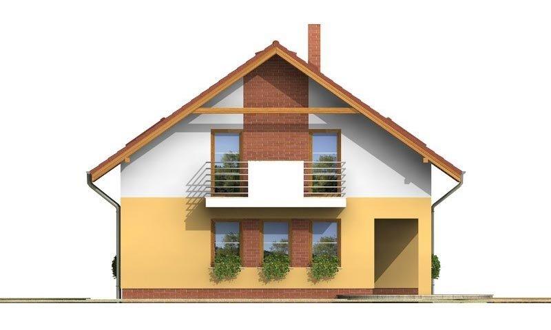 Pohľad 3. - Klasický rodinný dom s galériou a izbou na prízemí.