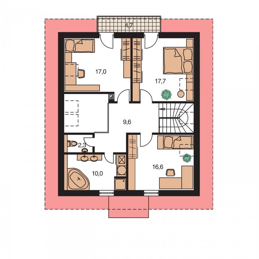 Pôdorys Poschodia - Klasický rodinný dom s galériou a izbou na prízemí