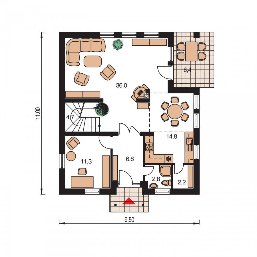Pôdorys Prízemia - Klasický rodinný dom s galériou a izbou na prízemí