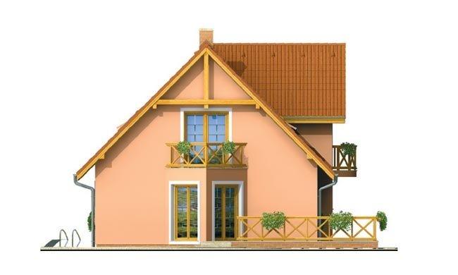Pohľad 2. - Projekt domu na úzky pozemok s bočným vstupom s 2-mi izbami na prízemí.