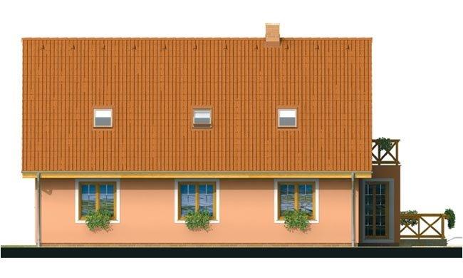 Pohľad 3. - Projekt domu na úzky pozemok s bočným vstupom s 2-mi izbami na prízemí.