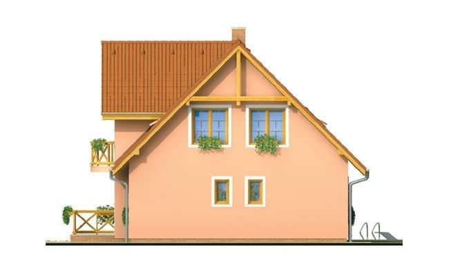 Pohľad 4. - Projekt domu na úzky pozemok s bočným vstupom s 2-mi izbami na prízemí.