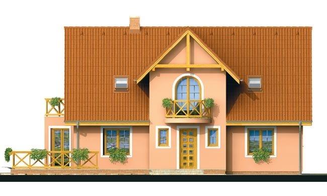 Pohľad 1. - Projekt domu na úzky pozemok s bočným vstupom s 2-mi izbami na prízemí.