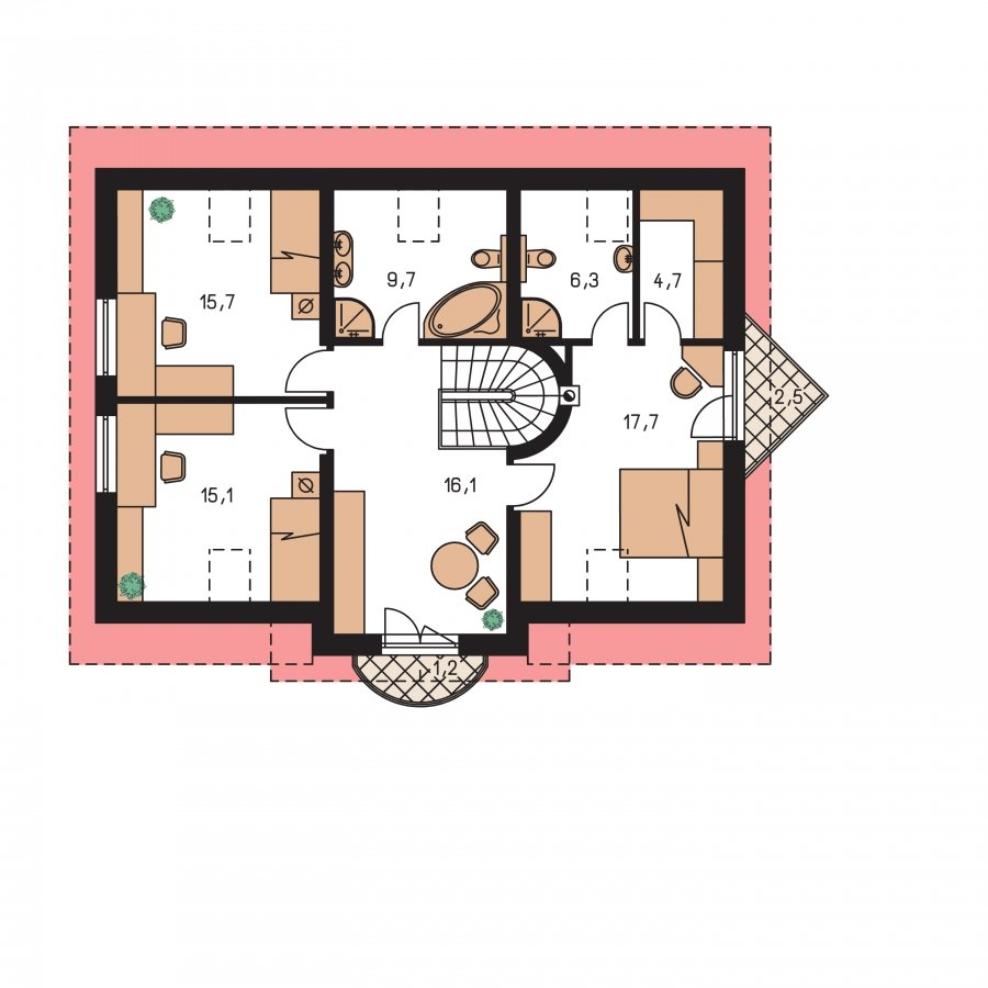 Pôdorys Poschodia - Projekt domu na úzky pozemok s bočným vstupom s 2-mi izbami na prízemí.