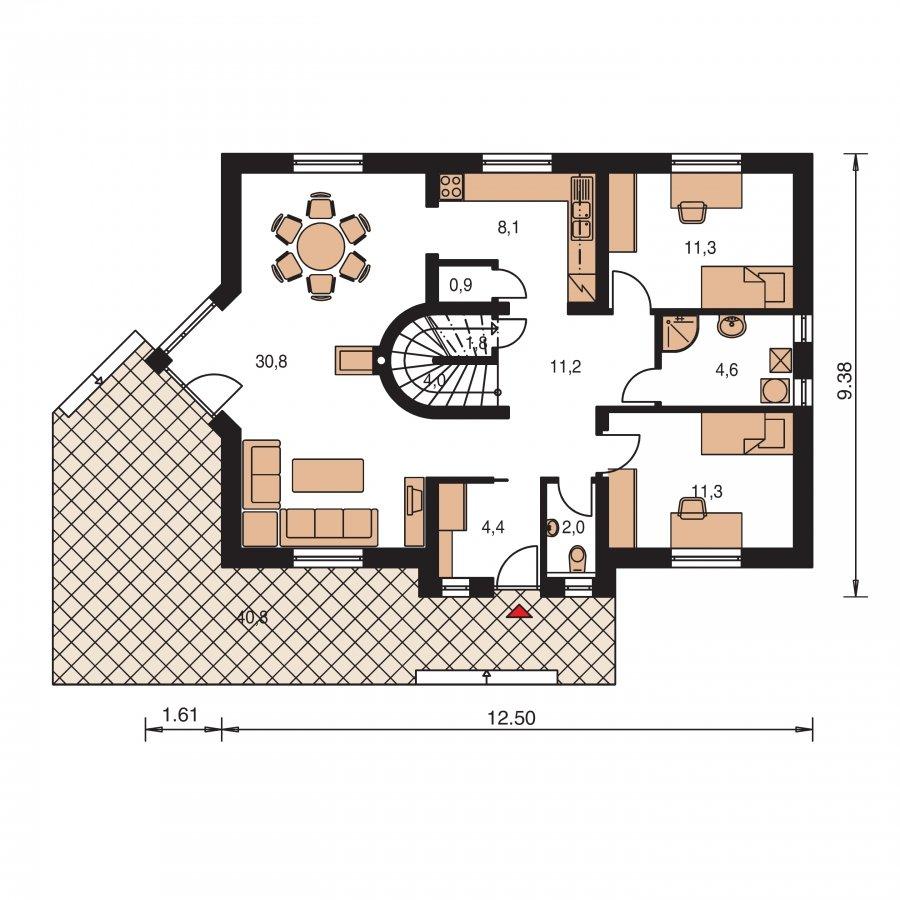 Pôdorys Prízemia - Projekt domu na úzky pozemok s bočným vstupom s 2-mi izbami na prízemí.