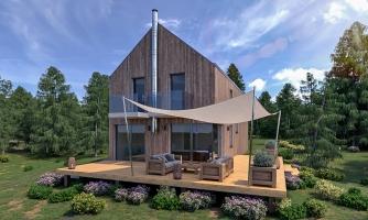 Projekt moderného domu s garážou, ktorý je vhodný aj na úzky pozemok.