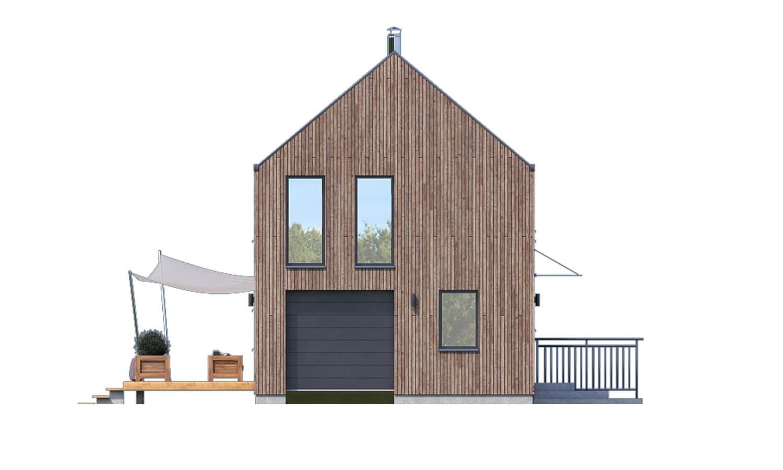 Pohľad 1. - Projekt moderného domu s garážou, ktorý je vhodný aj na úzky pozemok.