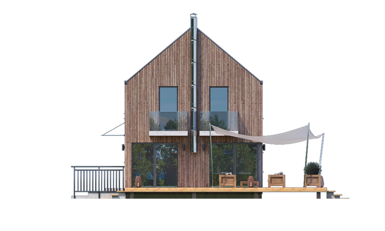 Pohľad 3. - Projekt moderného domu s garážou, ktorý je vhodný aj na úzky pozemok.