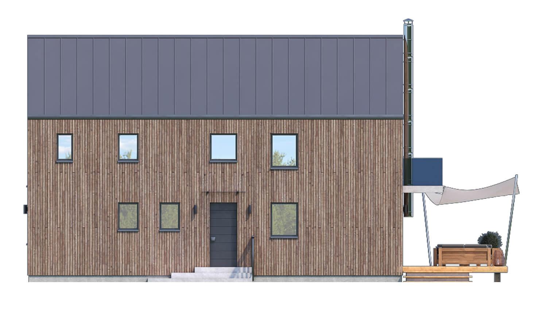 Pohľad 2. - Projekt moderného domu s garážou, ktorý je vhodný aj na úzky pozemok.