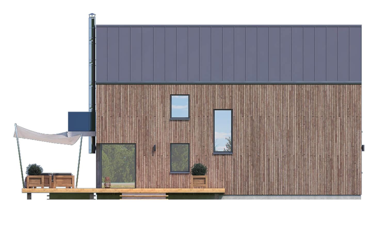 Pohľad 4. - Projekt moderného domu s garážou, ktorý je vhodný aj na úzky pozemok.