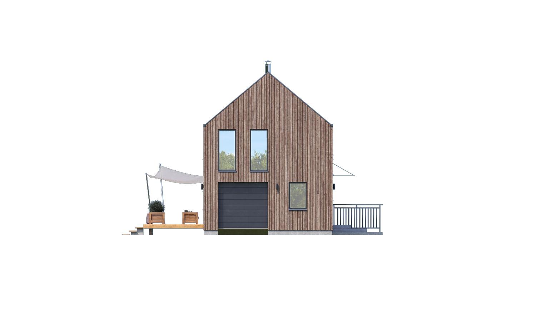 Pohľad 4. - Projekt moderného domu s garážou, ktorý je vhodný aj na úzky pozemok