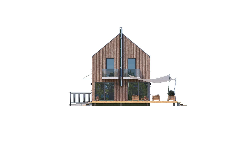 Pohľad 2. - Projekt moderného domu s garážou, ktorý je vhodný aj na úzky pozemok