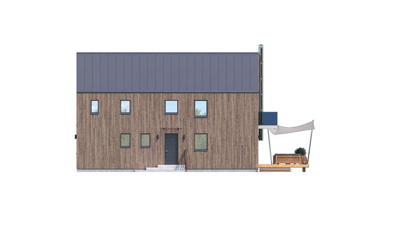 Pohľad 1. - Projekt moderného domu s garážou, ktorý je vhodný aj na úzky pozemok