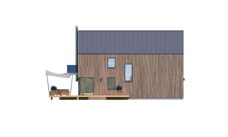 Pohľad 3. - Projekt moderného domu s garážou, ktorý je vhodný aj na úzky pozemok