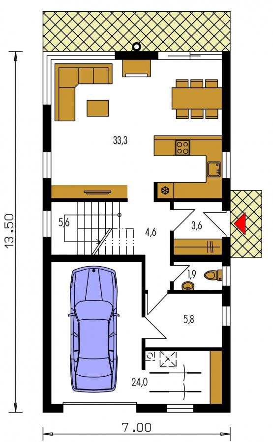 Pôdorys Prízemia - Projekt moderného domu s garážou, ktorý je vhodný aj na úzky pozemok.