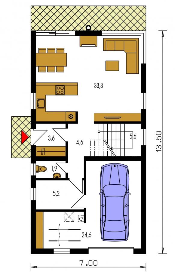 Pôdorys Prízemia - Projekt moderného domu s garážou, ktorý je vhodný aj na úzky pozemok