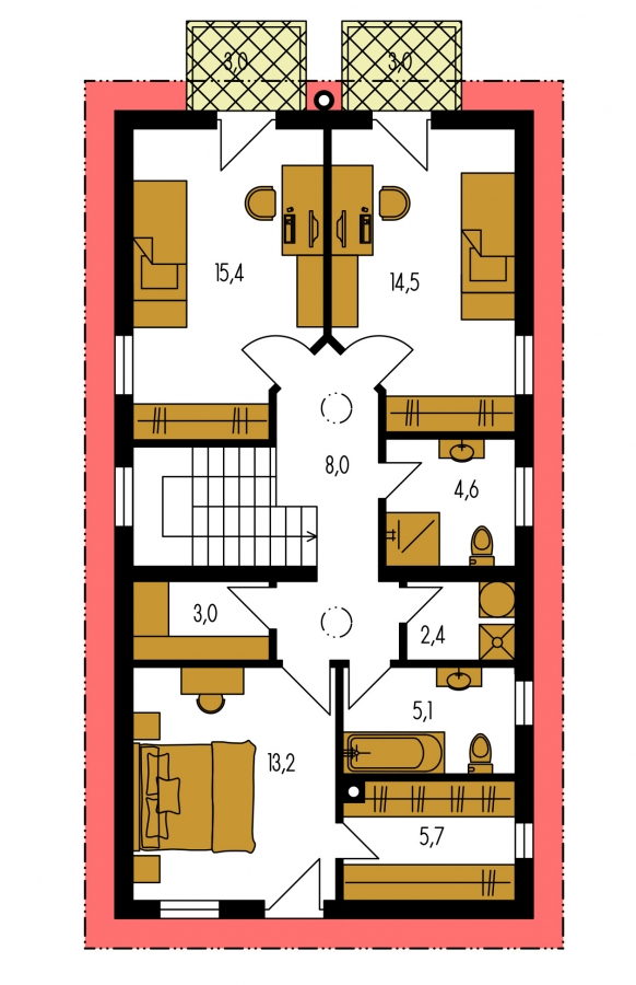 Pôdorys Poschodia - Projekt moderného domu s garážou, ktorý je vhodný aj na úzky pozemok