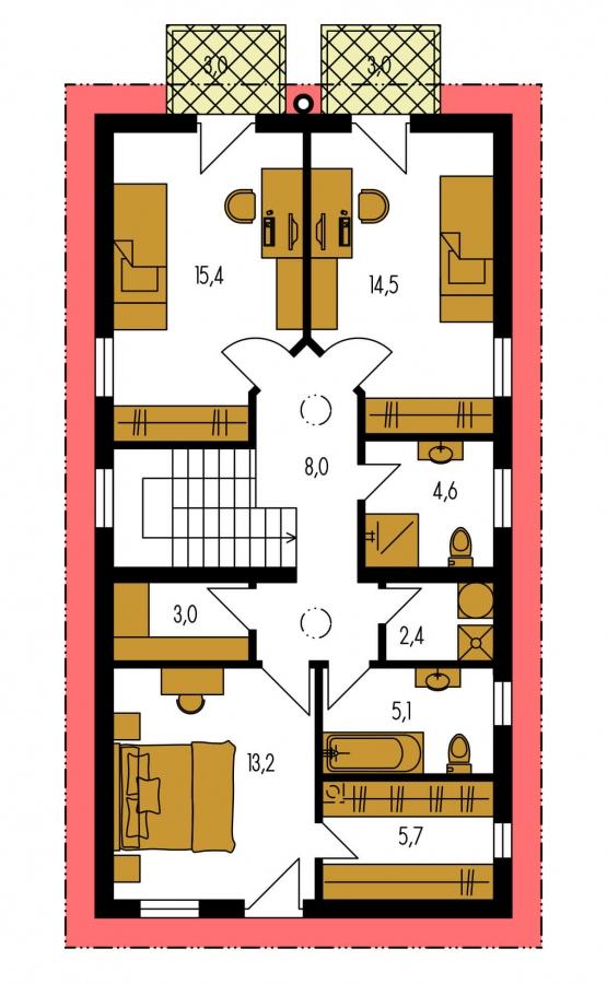 Pôdorys Poschodia - Projekt moderného domu s garážou, ktorý je vhodný aj na úzky pozemok.