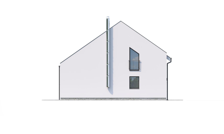 Pohľad 4. - Moderný 4 izbový rodinný dom s množstvom úložného priestoru, spálňou na prízemí a priestrannou galériou.