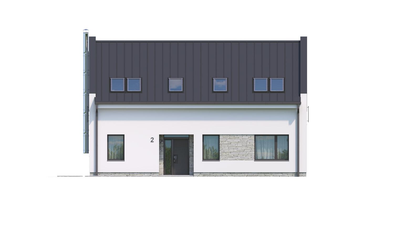 Pohľad 1. - Moderný 4 izbový rodinný dom s množstvom úložného priestoru, spálňou na prízemí a priestrannou galériou.