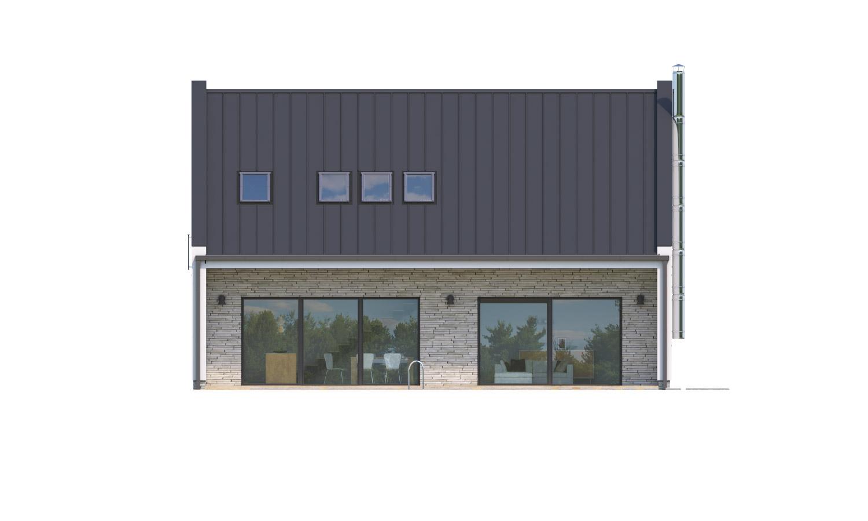 Pohľad 3. - Moderný 4 izbový rodinný dom s množstvom úložného priestoru, spálňou na prízemí a priestrannou galériou.