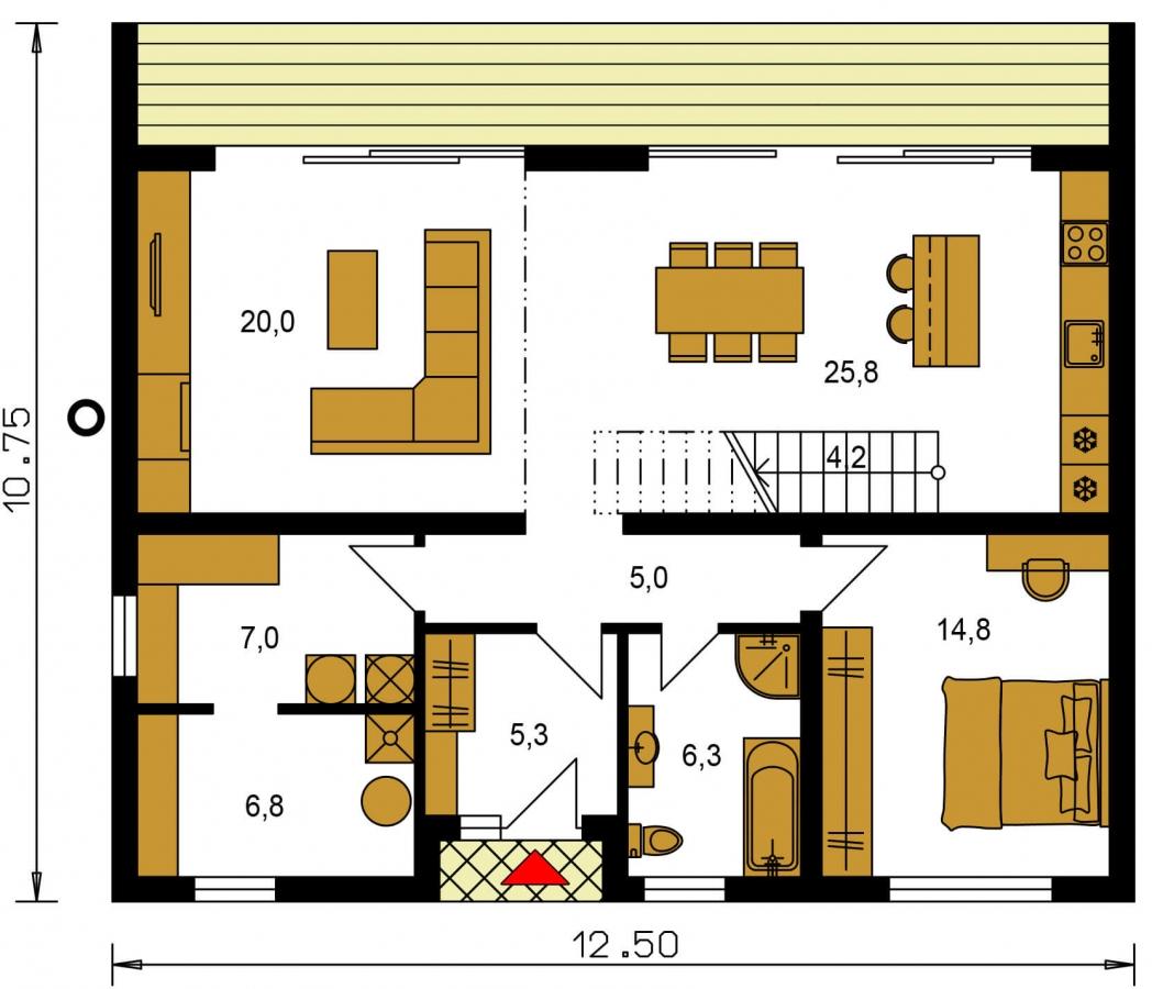 Pôdorys Prízemia - Moderný 4 izbový rodinný dom s množstvom úložného priestoru, spálňou na prízemí a priestrannou galériou.