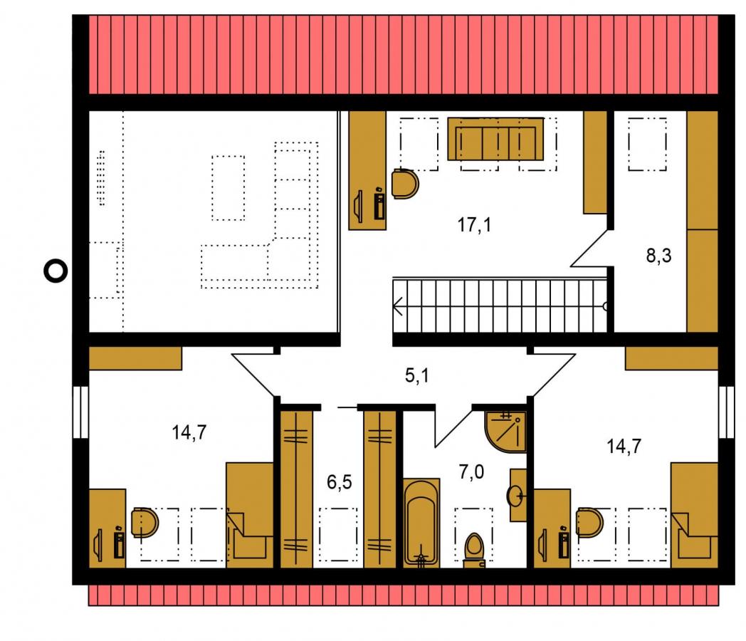 Pôdorys Poschodia - Moderný 4 izbový rodinný dom s množstvom úložného priestoru, spálňou na prízemí a priestrannou galériou.