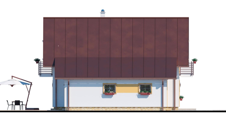 Pohľad 4. - Rodinný dom s pristavanou garážou, pracovňou na prízemí, troma izbami na poschodí a krbom.