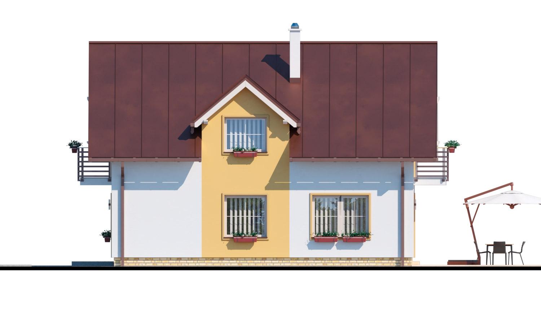 Pohľad 2. - Rodinný dom s pristavanou garážou, pracovňou na prízemí, troma izbami na poschodí a krbom.