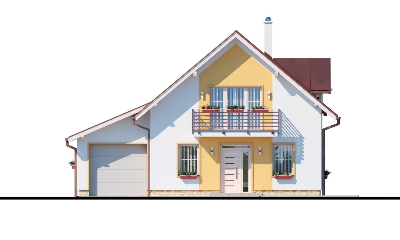 Pohľad 1. - Rodinný dom s pristavanou garážou, pracovňou na prízemí, troma izbami na poschodí a krbom.