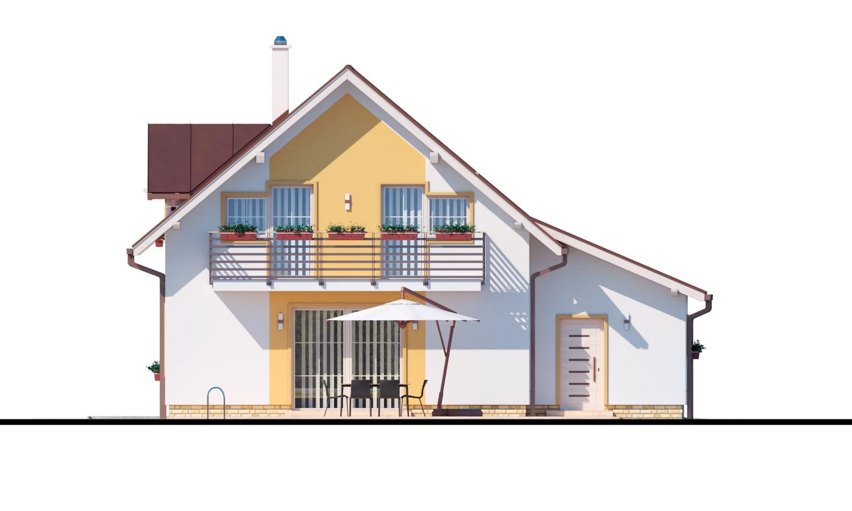 Pohľad 3. - Rodinný dom s pristavanou garážou, pracovňou na prízemí, troma izbami na poschodí a krbom.