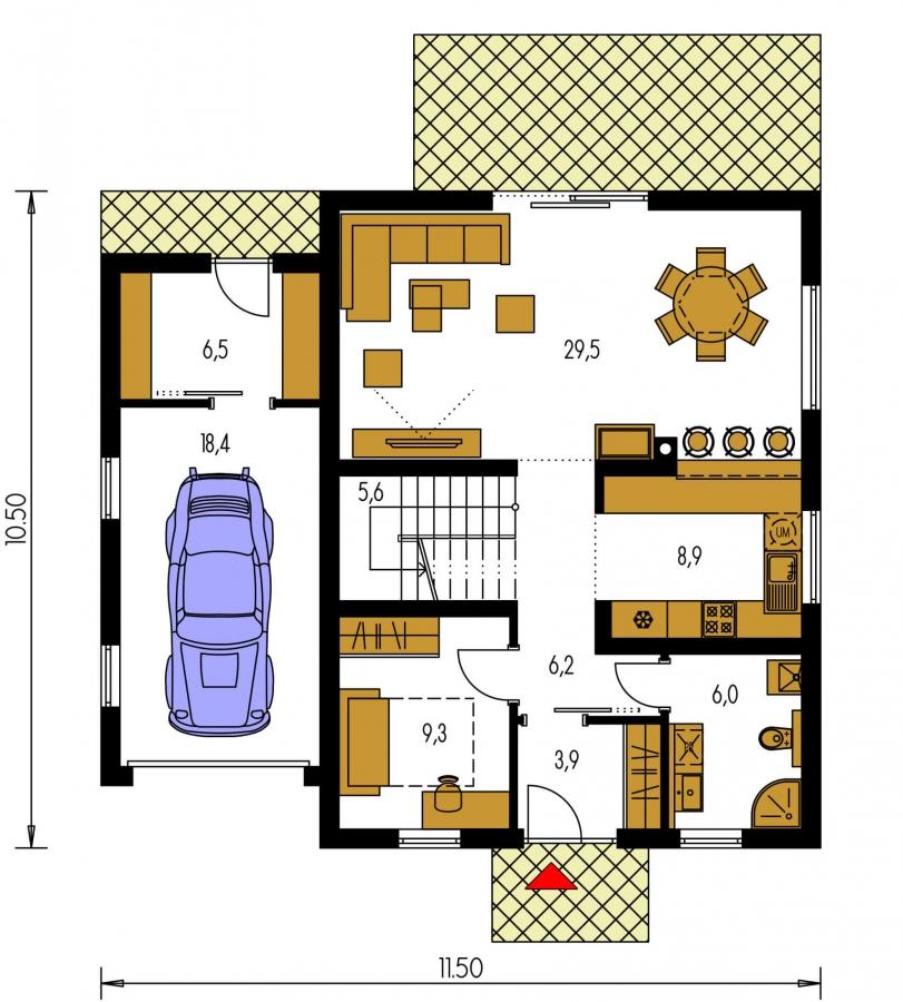 Pôdorys Prízemia - Rodinný dom s pristavanou garážou, pracovňou na prízemí, troma izbami na poschodí a krbom.
