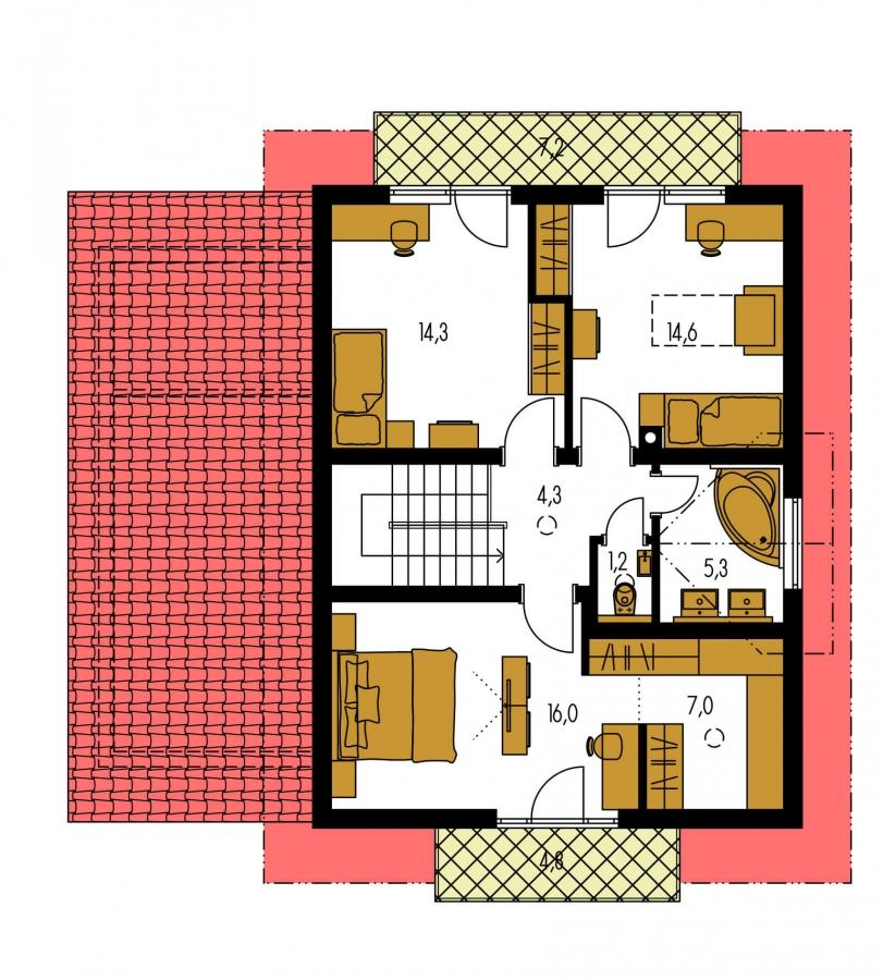 Pôdorys Poschodia - Rodinný dom s pristavanou garážou, pracovňou na prízemí, troma izbami na poschodí a krbom.