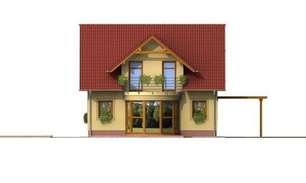 Pohľad 3. - Zaujímavý rodinný dom s apsidou a čelným vstupom.