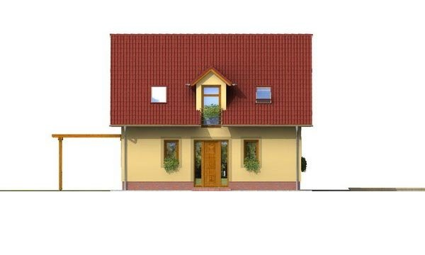 Pohľad 1. - Zaujímavý rodinný dom s apsidou a čelným vstupom.