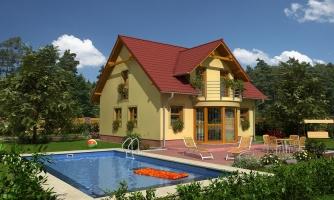 Zaujímavý rodinný dom s apsidou a čelným vstupom.