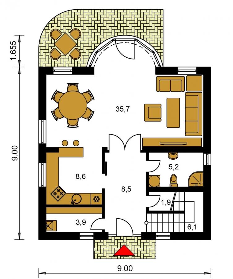 Pôdorys Prízemia - Zaujímavý rodinný dom s apsidou a čelným vstupom.