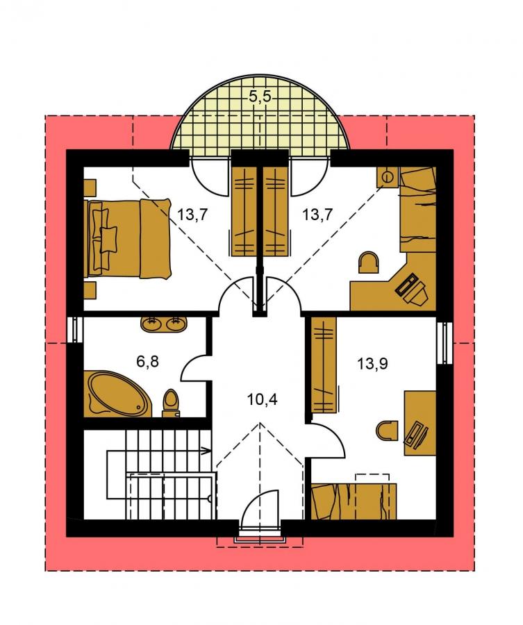 Pôdorys Poschodia - Zaujímavý rodinný dom s apsidou a čelným vstupom.